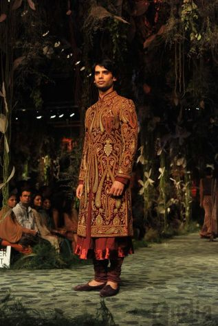 Aamby Valley India Bridal Fashion Week 2012 Sherwani maroon and gold
