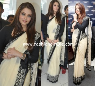 aishwarya_rai_launches_longines_showroom black and white saree