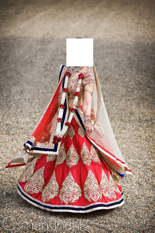 Simple Cherry bridal lehenga