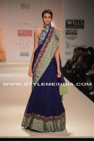 Anand-Kabra deep blue modern saree blouse