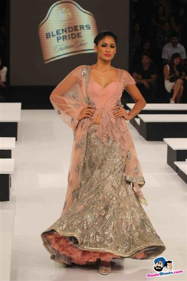 Blenders Pride Fashion Show blingy peach silver lehenga