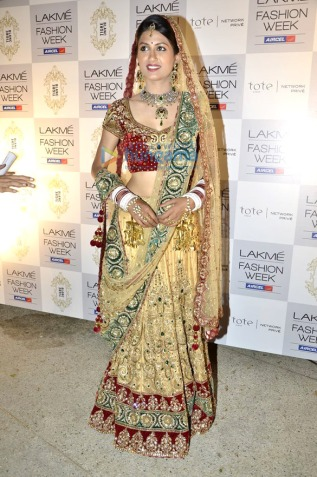 Gold  Red Green bridal lakme fashion week
