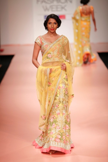 Bhairavi Jaikishan 2013 lemon peach bridal