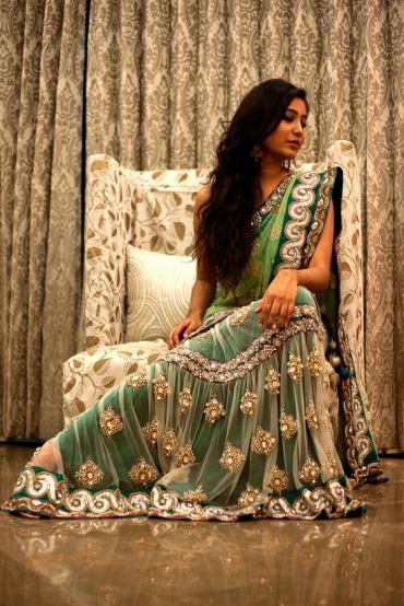Lzaya Couture Teal green simple lehenga