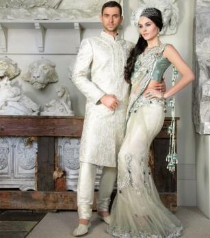 Regal White Sherwani and white lehenga