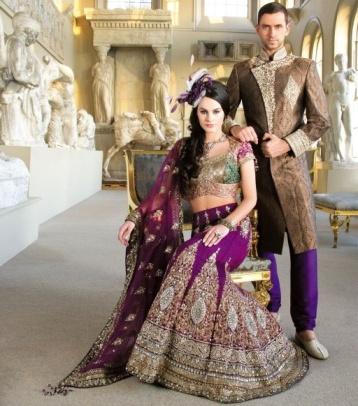 Sonas Haute Couture magenta sherwani lehenga