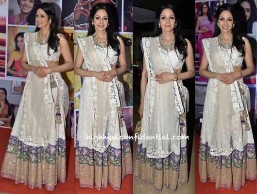 Sridevi in Manish Malhotra simple white lehenga