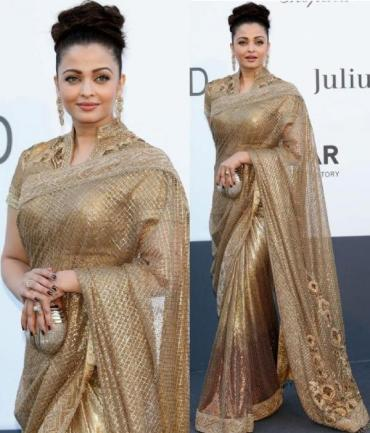Aishwarya rai Tarun Tahiliani gold saree