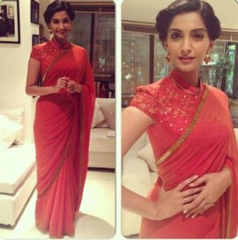 Sonam Kapoor_Tarun_Tahiliani_red_saree
