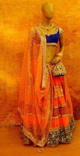 Manish Malhotra simple orange lehenga